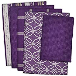 "DII 100% Cotton, Ultra Absorbent, Oversized, Washing, Drying, Basic Everyday Kitchen Dishtowel 18 x 28"" & Dishcloth 13 x 13"", Set of 5 - Eggplant"