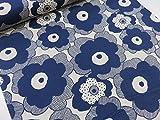 綿麻 マリメッコ風大きな花柄 ネイビー紺 キャンバス生地   |北欧風|生地|布地|