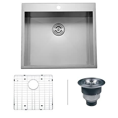 "Ruvati RVH8010 Overmount 16 Gauge 25"" Kitchen Sink Single Bowl, Stainless Steel"
