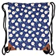 Canvas Drawstring Backpack Sackpack Bag - Flowers / Blue