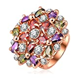 Yellow Chimes Color Knots Swiss Zircon Multicolor Rose Gold Ring for Women by YELLOW CHIMES