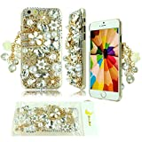 iPhone 6 Plus Case Moon mood® 3D Handmade Luxury Clear Bling Shining Sparkle Glitter Crystal Diamond Rhinestones Protector Back Case for Apple iPhone 6 Plus 55 Bag Tassel Pendant Gold Pearl Flower