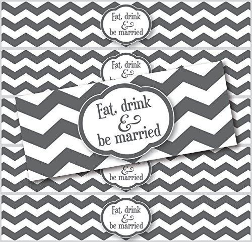 """24 Waterproof Water Bottle Labels; Chevron """"Eat, Drink And Be Married"""" (Charcoal) front-1045150"""