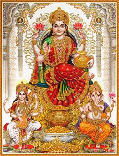 shree-laxmiji-goddess-lakshmi-goddess-of-wealth-with-lord-ganesha-and-devi-saraswati-poster-size-85x