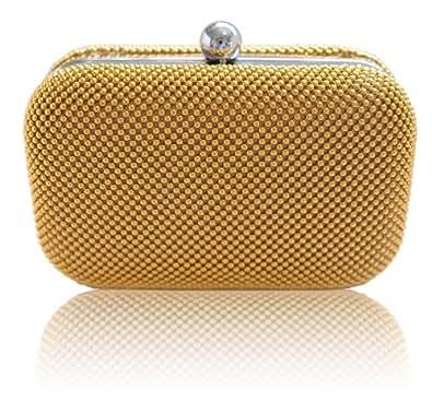 m t yellow gold beaded mesh clutch bag wedding prom