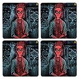 Posterboy The Alien Frida MDF Coaster Set, Set Of 4, 101mm, Multicolor