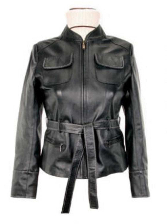 Alpacaandmore Hüftlange schwarze Damen Lederjacke Lamm Nappa Leder handgenäht günstig kaufen