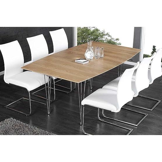 Tavolo da pranzo Continente II, in legno di quercia impiallacciato, allungabile 170/270cm