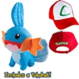 Pokedoll Mudkip 8'' with Ash Ketchum Hat Plush Bundle (Color: Blue, Red, Tamaño: 8 Inches)