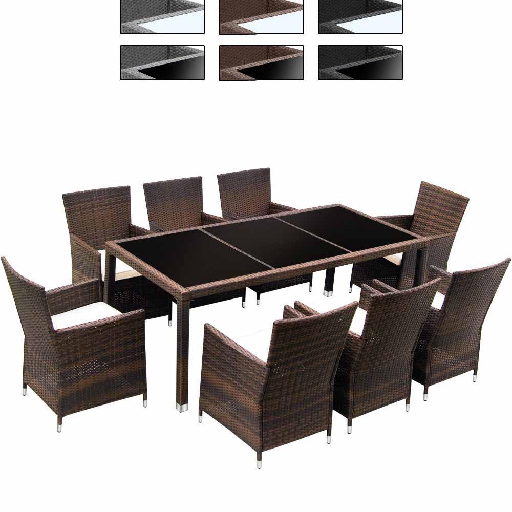 Hochwertige 17-teilige Polyrattan Sitzgarnitur Gartenmöbel Farbwahl Rattangeflecht & Tischplatte mit Kissen jetzt bestellen