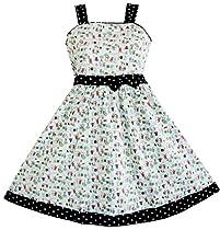 M838 Girls Dress Green Tree Animal Print Children Clothing Sz 7-8