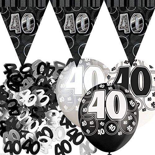 Kit de décoration de fête Noir et Argent 40 ans avec bannière avec fanions