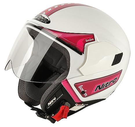NITRO 108837S17 Casque Moto Ngjp Bonbon Blanc