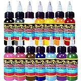 Solong Tattoo New Design 14 Basic Colors Tattoo Ink Set Pigment Kit 1oz (30ml) Professional Tattoo Supply for Tattoo Kit TI301-30-14X