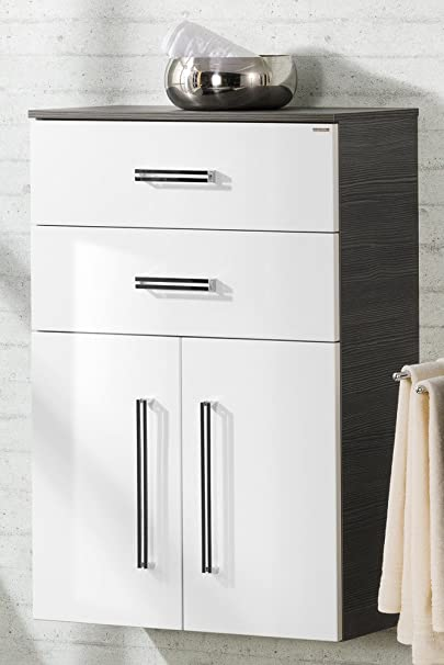 Lugano Bathroom Cupboard / Como Colour (Front): White, Colour (body): Pine-Anthrazit