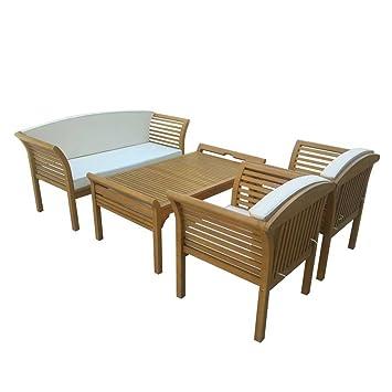 Loungemöbel Sitzgruppe Loungeset aus Eukalyptus Massivholz geölt (4-teilig) Pharao24