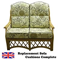 Hump Back CANE SOFA CUSHIONS Conservatory Wicker Rattan Furniture by GILDA® (Bayswater Autumn with Sage piping) by Gilda Ltd