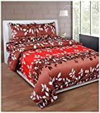Soni Traders 144 TC Cotton Double Bedsheet - Floral, Brown