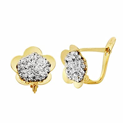18k gold flower earrings 10mm. Leverback zircons [AA2333]