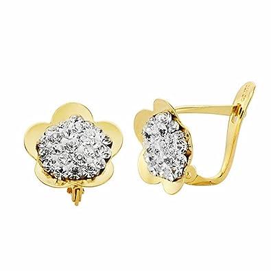 18k gold flower earrings 10mm. Leverback zircons [AA2333]