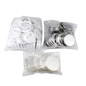 BEAMNOVA 500Pcs 2-1/4 inch Button Parts for Badge Maker Machine Clip Pin Top/Bottom Cover - Every Set includs 2.28 inch Clip Button, 2.8 inch Thin Film, 1 Mylar (Color: white, Tamaño: 2-1/4 Inch Button Parts x 500 Sets)