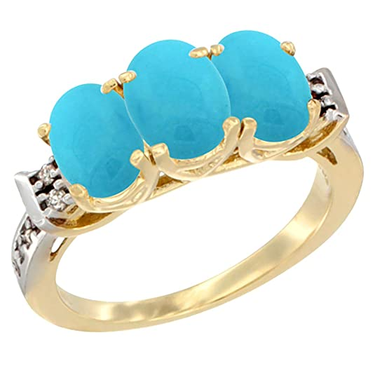 14ct Yellow Gold Natural Turquoise Ring 3-Stone Oval 7x5 mm Diamond Accent, sizes J - T