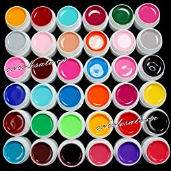 36 Colors Solid Pure Mix Color UV Builder Gel Acrylic Set for Nail Art Tips