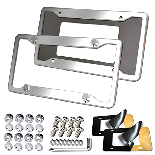 2 X Car License Plate Frame 304 Stainless Steel Silver Tag Cover Screw Caps
