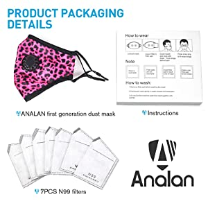 ANALAN Dust Masks Reusable Washable Mask Air Masks for Dust Smoke Pollen with Mask Filters
