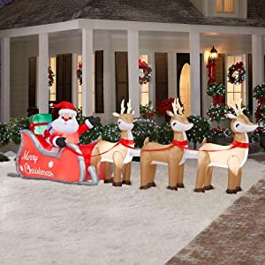 16 ft colossal inflatable lighted santa in for Amazon christmas lawn decorations