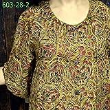 【国内Free】カラムカリプリント ドビー織オープンワンピース ドレス OP草木染 603028 3柄 3白ベース+インディゴ1点,選択