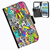 Hairyworm-Sticker Bomb Samsung Galaxy S3 Mini leather side flip wallet case case for Samsung Galaxy S3 Mini phone
