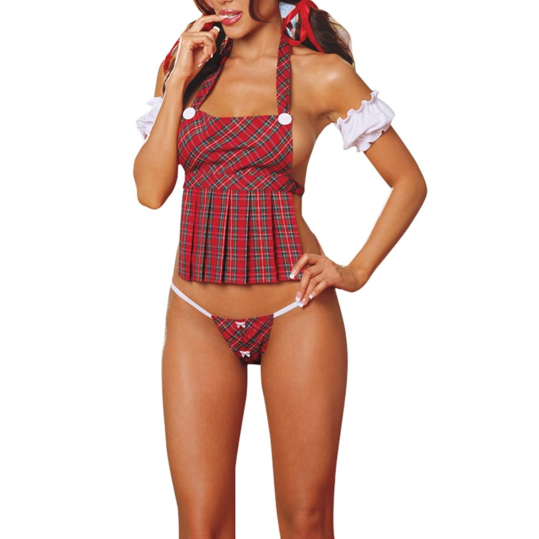 West See 3pcs Damen Unterwäsche Reizvolle Maid Rot Nachtwäsche Nachtkleid Baby Doll Wäsche G-String Dessous