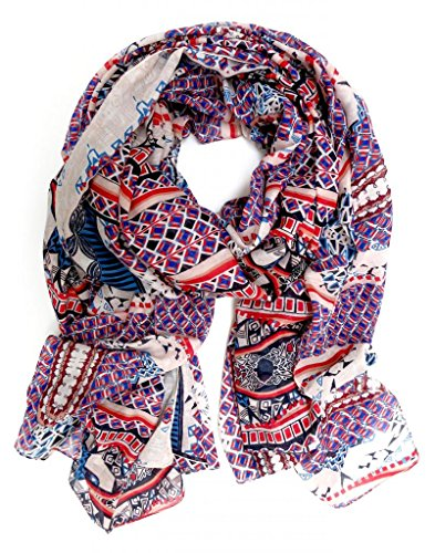 accessu-Echarpe-Foulard-pour-Femme-High-Fashion-Ethno-Aztec-Design-redbluebeige