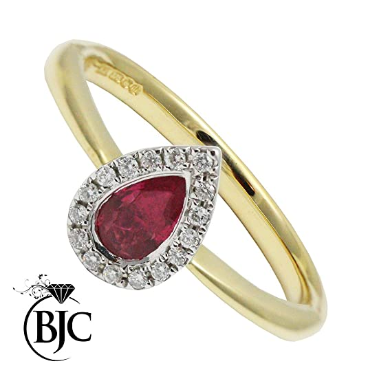 BJC© Ruby & Diamond 0.25ct 0.10ct Pear Cut Cluster 9ct Yellow Gold Ring