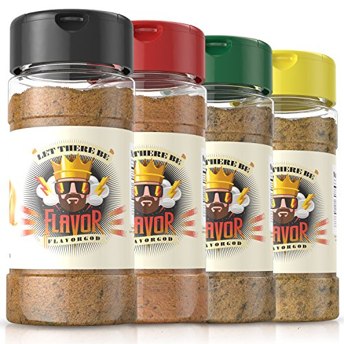 #1 Best-Selling 5oz. Flavor God Seasonings (4 Seasoning Combo Set, 4 Bottles)