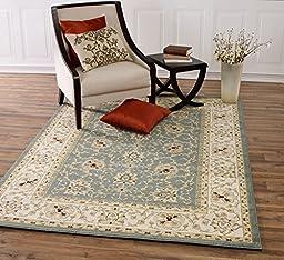 Diagona Designs Teal & Beige Traditional Persian Oriental Design Area Rug, 5\'3\