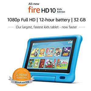 All-New Fire HD 10 Kids Edition Tablet - 10.1 1080p full HD display, 32 GB, Blue Kid-Proof Case (Color: Blue)