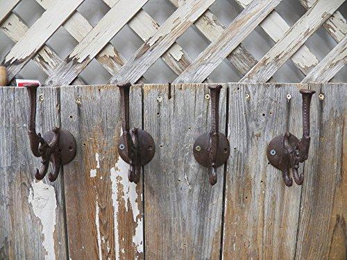 Lot Set of 4 Fancy Ornate Heavy Cast Iron Coat Hat Hooks Hangers (Cast Iron Cowboy Hook compare prices)