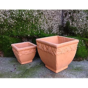 Designed Hand Pressed Different Sized Ancient Stressed Terracotta Square Flower Pot
