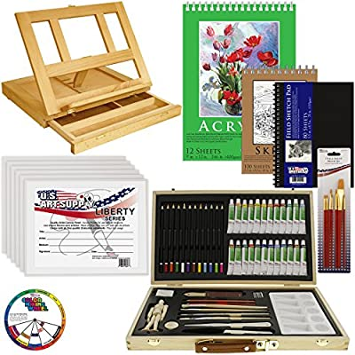 "US Art Supply® 68-Piece Custom Artist Acrylic Painting Set with, Wood Drawer Table Easel, 24-Tubes Acrylic Colors, 12 Colored Pencils, 2 Graphite Pencils, 9""x12"" Painting Paper Pad, 6-each 8""x10"" Canvas Panels, 100-Sheet Sketch Pad, 80-Page Hardbound Ske"