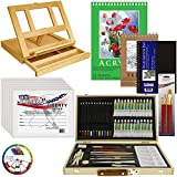 "US Art Supply® 68-Piece Custom Artist Acrylic Painting Set with, Wood Drawer Table Easel, 24-Tubes Acrylic Colors, 12 Colored Pencils, 2 Graphite Pencils, 9""x12"" Painting Paper Pad, 6-each 8""x10"" Canvas Panels, 100-Sheet Sketch Pad, 80-Page Hardbound Sketchbook, 11 Artist Brushes, 5.5"" Manikin, Plastic Palette with 10 Wells & Now Includes a FREE Color Wheel -Great Student Artist Starter Set"