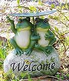 葉っぱで雨宿り 仲良し カエル 置物 ガーデニング お庭に 可愛い アクセント 樹脂製 ウェルカム タイプ