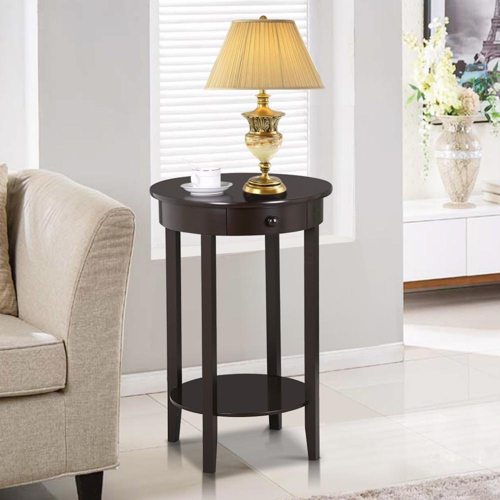 yaheetech round sofa side end table with drawer wood beside nightstand console table for small. Black Bedroom Furniture Sets. Home Design Ideas