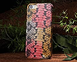 Iphone 5S Case,E-Age Luxury Genuine Snake Skin Leather Case Hard-Shell Cover for iPhone 5/5S (A7)
