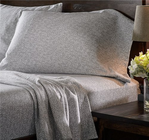 Marrikas Heavyweight 6 Oz. German Flannel Sheet Set Twin White With Grey Print front-887305