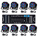CO-Z LED Par Lights 18x3W Pack of 8 pcs RGB DJ Stage Party Light System with DMX Controller System Par Can LED Beam Pub Bar