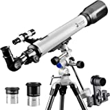 DoubleSun Telescope with Equatorial Mount-Refractor Scope 70mm Aperture and 700mm Focal Length for Student Kids Beginners Adults-with Smartphone Adapter and 2 PLOSSL Eyepieces (Tamaño: 70EQ700)