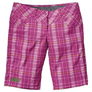 Jack Wolfskin Women's Softshell Plaid Shorts - Pink Passion Checks, Size 34