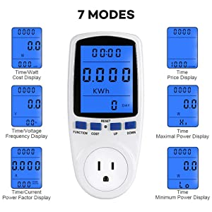 Electricity Usage Monitor Power Meter Plug Home Energy Watt Volt Amps Wattage KWH Consumption Analyzer with Digital LCD Display Overload Protection (Color: White, Tamaño: 6.1*1.2*2.8)
